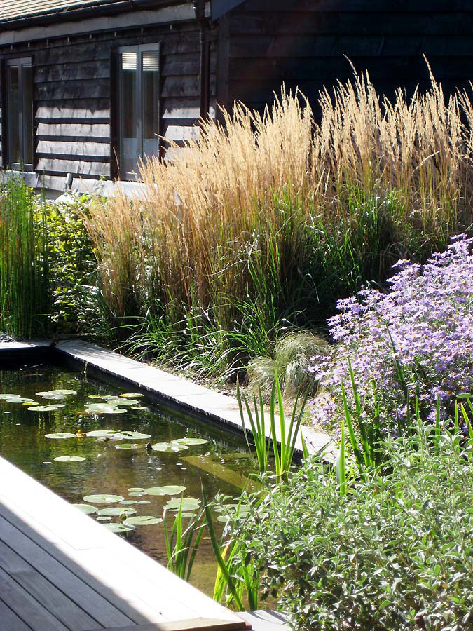 Rill surrounded by soft planting. Rae Wilkinson Garden and Landscape Design - Garden Designer Sussex, Surrey, London, South-East England