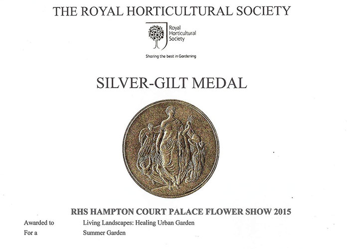 RHS Chelsea Hampton Court Silver Gilt Medal awarded to Rae Wilkinson