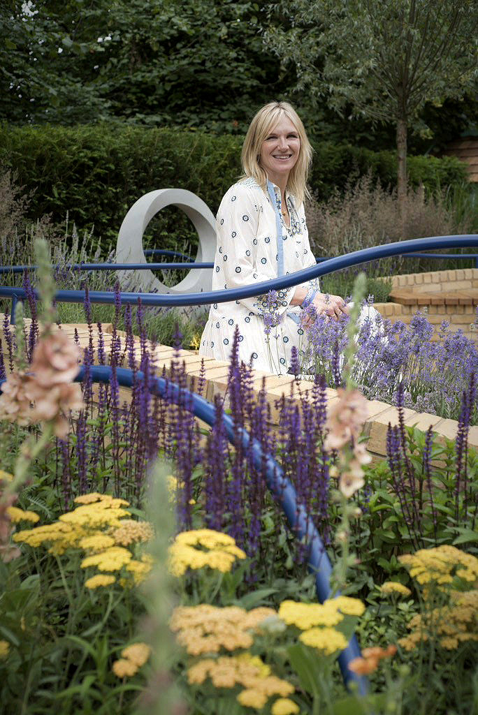 TV presenter and Radio DJ Jo Whiley in Rae Wilkinson Show Garden. Rae Wilkinson Garden and Landscape Design - Garden Designer Sussex, Surrey, London, South-East England